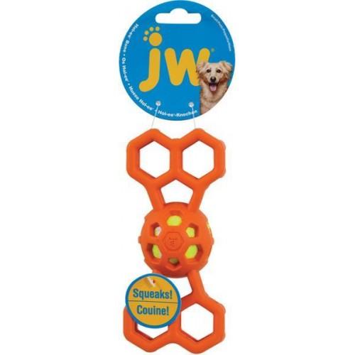 JW Hol-EE Dierovaná kostička s pískajúcou loptičkou S
